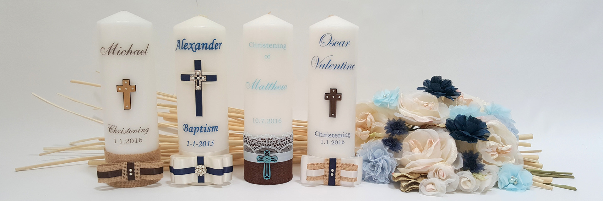 Candle personal personalised baptism christening cross religious christian godmother godfather godparent celebration catholic