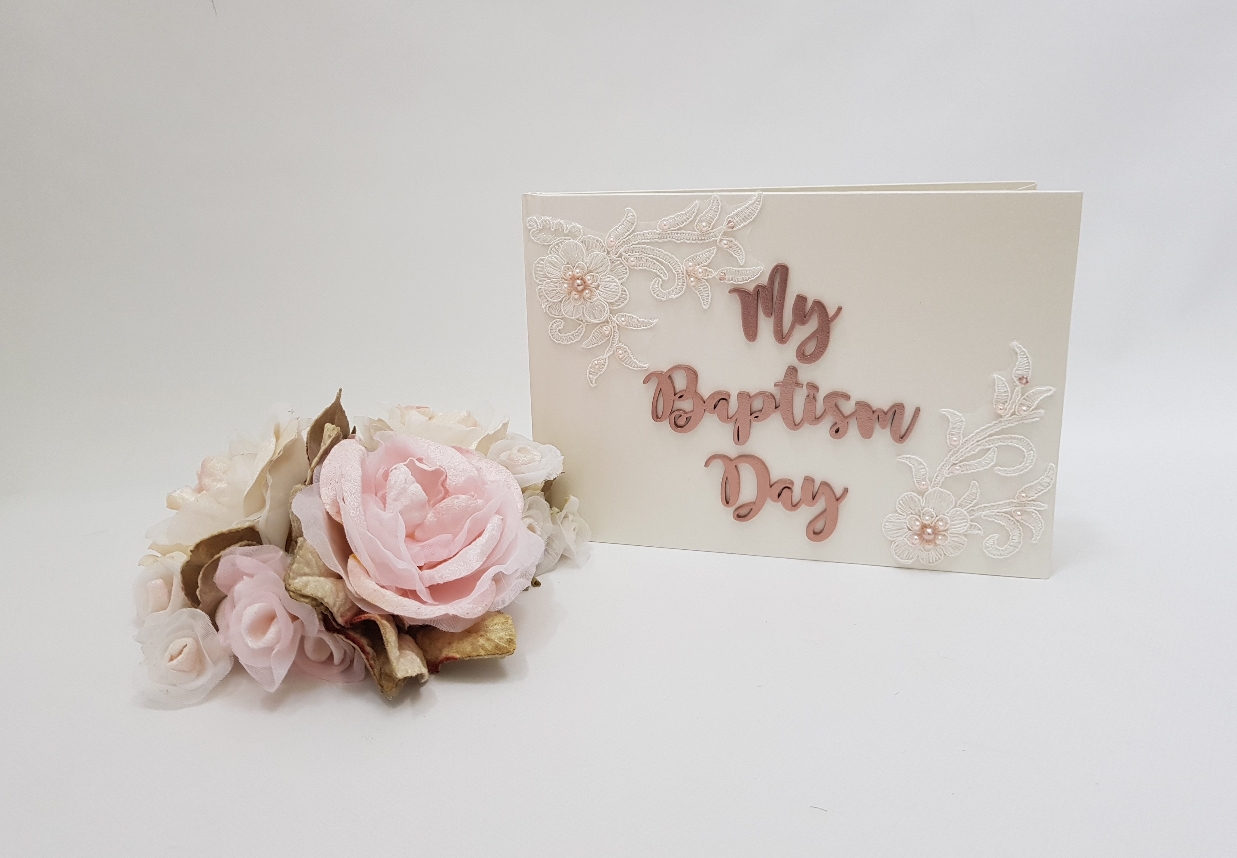 unpersonalised baptism guest book beaded lace