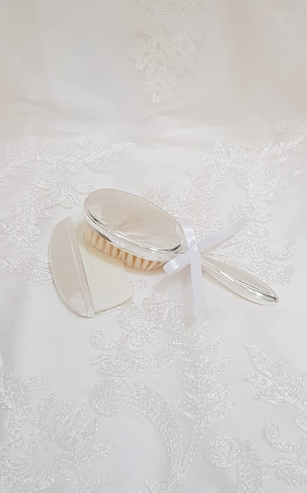 baptism-christening-hair-brush-comb-set-plain-hbc29