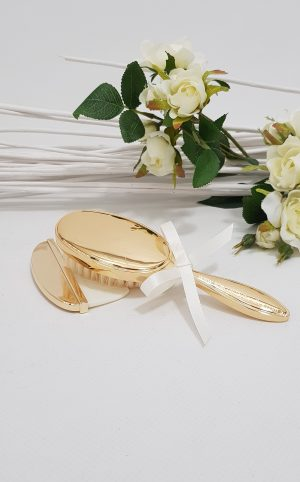 baptism-christening-hair-brush-comb-hbc29Gplain-gold -SDC