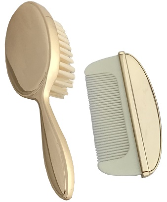 baptism-christening-hair-brush-comb-hbc29Gplain-gold