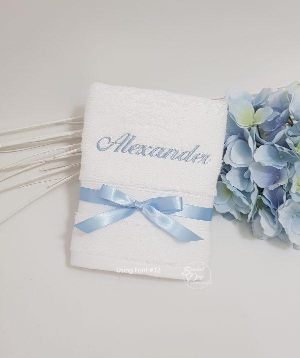 personalised-hand-towel-baby-blue-pemb1xnameF12